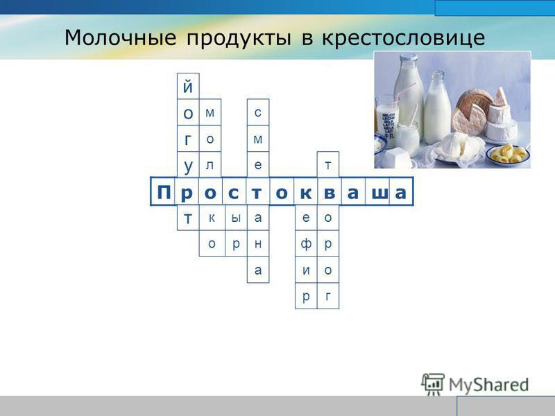 www.themegallery.com Company Logo Молочные продукты в крестословице Простокваша т к йогу ы с м е м о л е р а н а т о р и ф г о р о