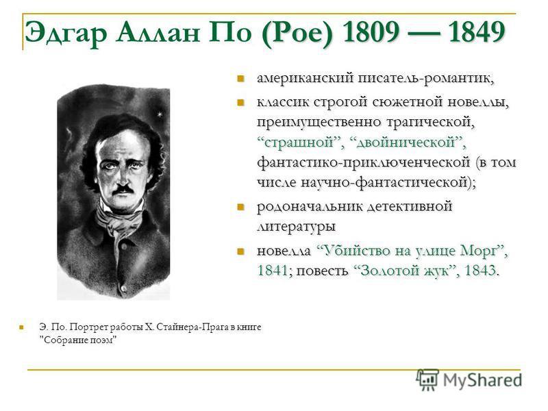 (Poe)1809 1849 Эдгар Аллан По (Poe) 1809 1849 Э. По. Портрет работы Х. Стайнера-Прага в книге
