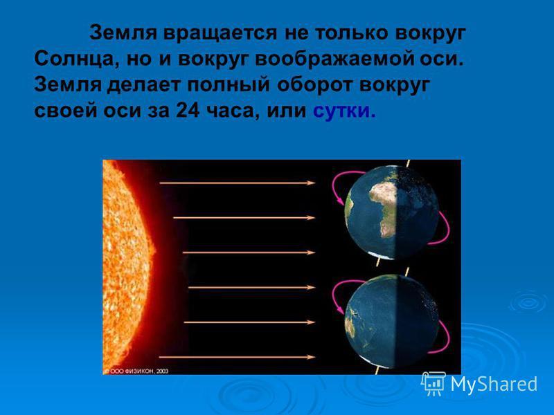 Земля вращается не только вокруг Солнца, но и вокруг воображаемой оси. Земля делает полный оборот вокруг своей оси за 24 часа, или сутки.