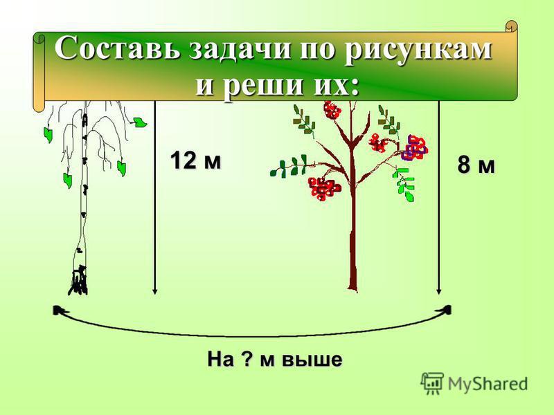 12 м 8 м На ? м выше Составь задачи по рисункам и реши их: