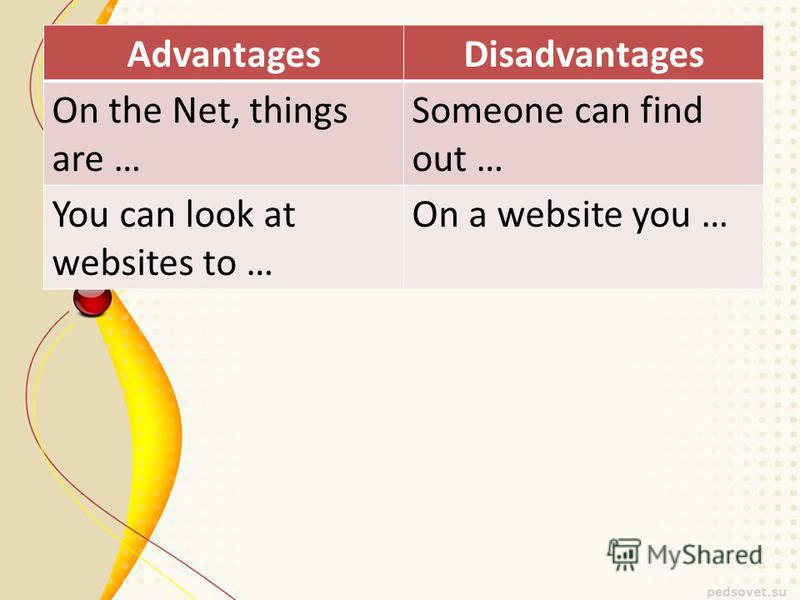 AdvantagesDisadvantages On the Net, things are … Someone can find out … You can look at websites to … On a website you …