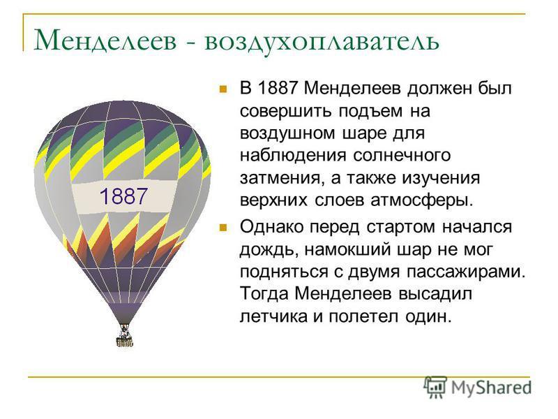 Менделеев - воздухоплаватель В 1887 Менделеев должен был совершить подъем на воздушном шаре для наблюдения солнечного затмения, а также изучения верхних слоев атмосферы. Однако перед стартом начался дождь, намокший шар не мог подняться с двумя пассаж