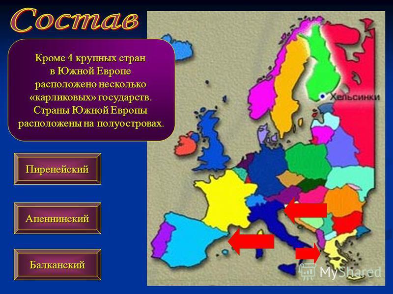 Кроме 4 крупных стран в Южной Европе расположено несколько «карликовых» государств. Страны Южной Европы расположены на полуостровах. Апеннинский Пиренейский Балканский