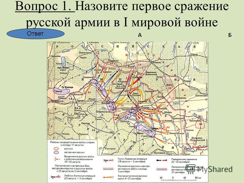Вопрос 1. Назовите первое сражение русской армии в I мировой войне АБ В Г Ответ