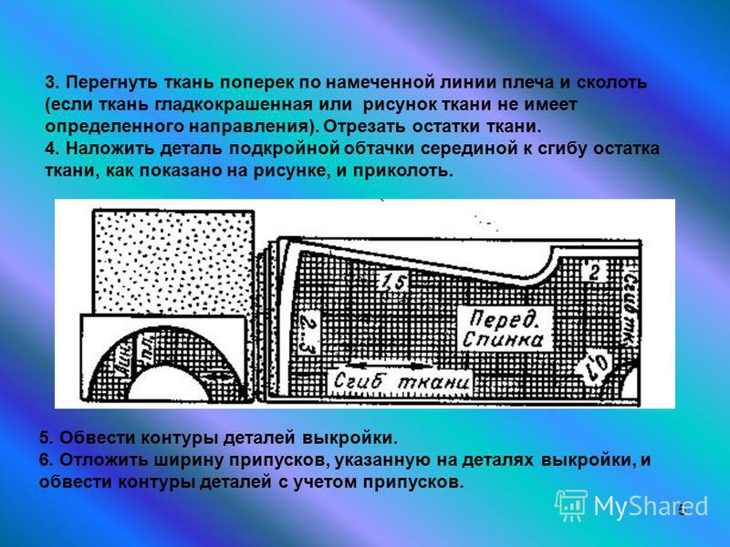 5 3. Перегнуть ткань поперек по намеченной линии плеча и сколоть (если ткань гладкокрашеная или рисунок ткани не имеет определенного направления). Отрезать остатки ткани. 4. Наложить деталь подкройной обтачки серединой к сгибу остатка ткани, как пока