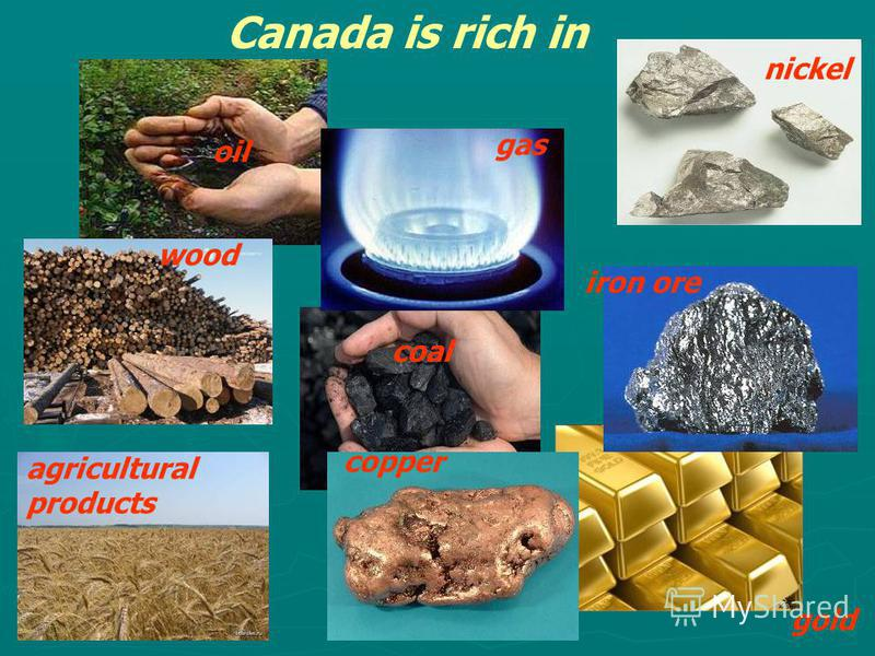 gas oil coal iron ore nickel copper Canada is rich in agricultural products gold wood