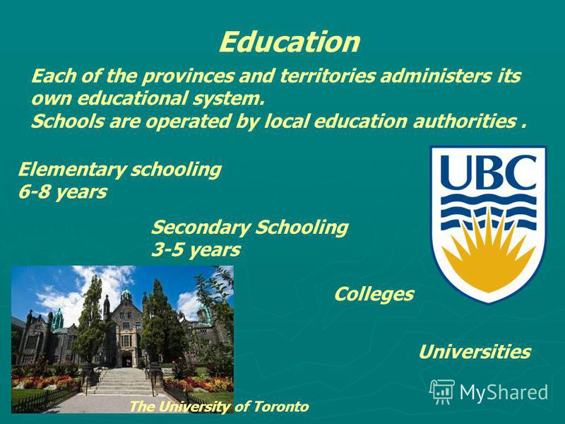 Education Each of the provinces and territories administers its own educational system. Schools are operated by local education authorities. Elementary schooling 6-8 years Secondary Schooling 3-5 years Colleges Universities The University of Toronto