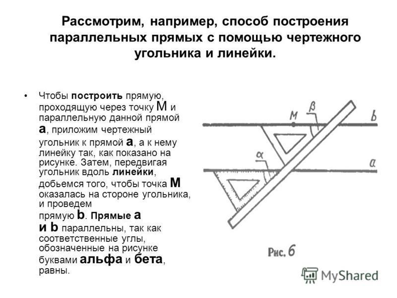 Рассмотрим, например, способ построения параллельных прямых с помощью чертежного угольника и линейки. Чтобы построить прямую, проходящую через точку М и параллельную данной прямой а, приложим чертежный угольник к прямой а, а к нему линейку так, как п