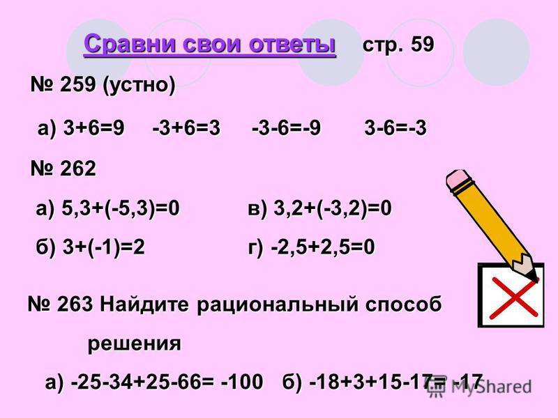 Сравни свои ответы стр. 59 259 (устно) 259 (устно) а) 3+6=9-3+6=3 -3-6=-9 3-6=-3 а) 3+6=9 -3+6=3 -3-6=-9 3-6=-3 262 262 a) 5,3+(-5,3)=0 в) 3,2+(-3,2)=0 a) 5,3+(-5,3)=0 в) 3,2+(-3,2)=0 б) 3+(-1)=2 г) -2,5+2,5=0 б) 3+(-1)=2 г) -2,5+2,5=0 263 Найдите ра