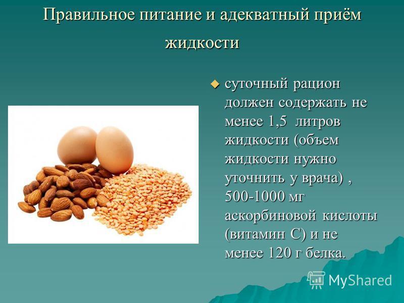Правильное питание и адекватный приём жидкости суточный рацион должен содержать не менее 1,5 литров жидкости (объем жидкости нужно уточнить у врача), 500-1000 мг аскорбиновой кислоты (витамин С) и не менее 120 г белка. суточный рацион должен содержат