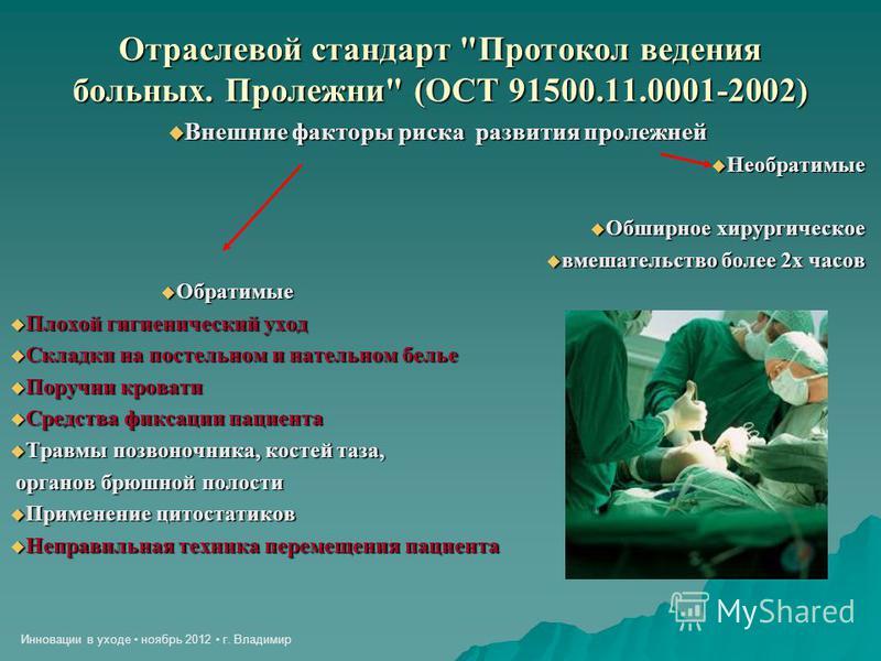 Инновации в уходе ноябрь 2012 г. Владимир Отраслевой стандарт