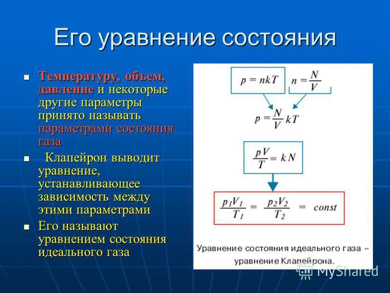 Его уравнение состояния Температуру, объем, давление и некоторые другие параметры принято называть параметрами состояния газа Температуру, объем, давление и некоторые другие параметры принято называть параметрами состояния газа Клапейрон выводит урав