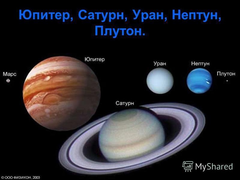 Юпитер, Сатурн, Уран, Нептун, Плутон.