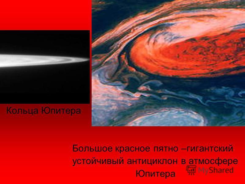 Кольца Юпитера Большое красное пятно –гигантский устойчивый антициклон в атмосфере Юпитера