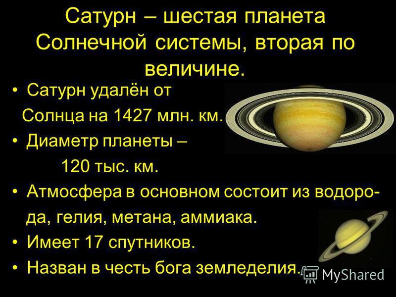 Сатурн – шестая планета Солнечной системы, вторая по величине. Сатурн удалён от Солнца на 1427 млн. км. Диаметр планеты – 120 тыс. км. Атмосфера в основном состоит из водорода, гелия, метана, аммиака. Имеет 17 спутников. Назван в честь бога земледели