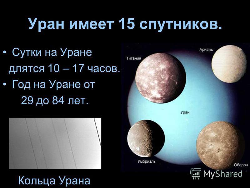 Уран имеет 15 спутников. Сутки на Уране длятся 10 – 17 часов. Год на Уране от 29 до 84 лет. Кольца Урана