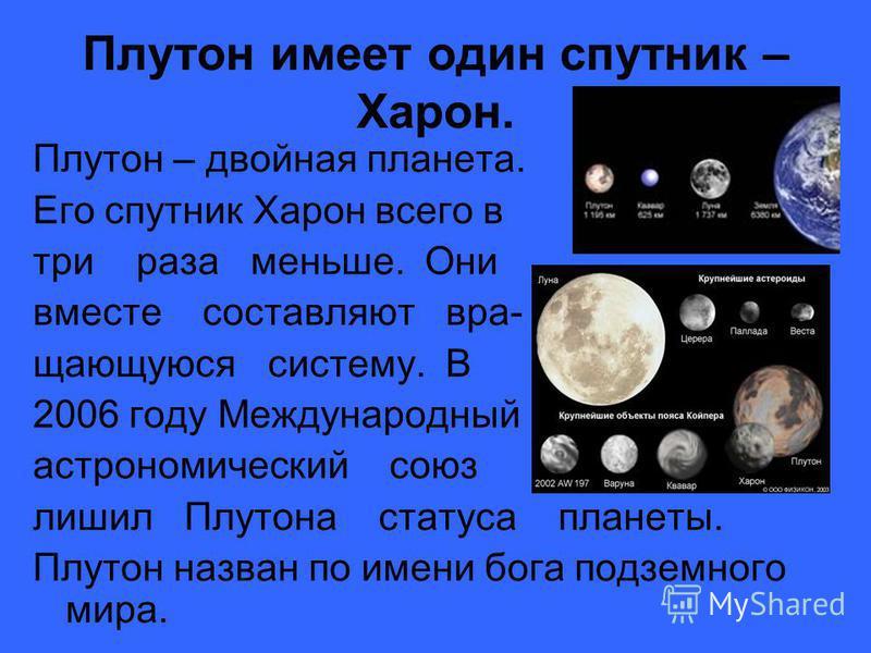 Плутон имеет один спутник – Харон. Плутон – двойная планета. Его спутник Харон всего в три раза меньше. Они вместе составляют вращающуюся систему. В 2006 году Международный астрономический союз лишил Плутона статуса планеты. Плутон назван по имени бо