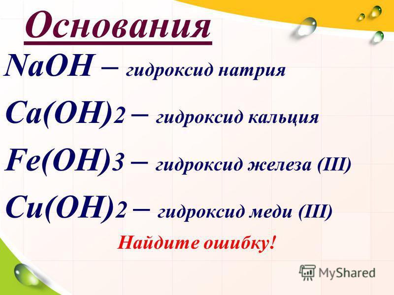 Основания NaOH – гидроксид натрия Ca(OH) 2 – гидроксид кальция Fe(OH) 3 – гидроксид железа (III) Cи(OH) 2 – гидроксид меди (III) Найдите ошибку!