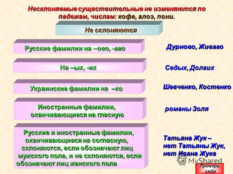 Несклоняемые существительные не изменяются по падежам, числам: кофе, алоэ, пони. Не склоняются Не склоняются Русские фамилии на –ово, -аго Русские фамилии на –ово, -аго Дурново, Живаго На –ых, -их На –ых, -их Седых, Долгих Украинские фамилии на –ко У