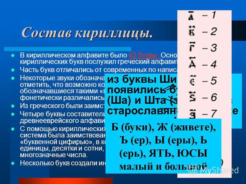 14 Состав кириллицы. В кириллическом алфавите было 43 буквы. Основой для 26 кириллических букв послужил греческий алфавит.43 буквы. Часть букв отличались от современных по написанию. Некоторые звуки обозначались двумя буквами. Впрочем, следует отмети