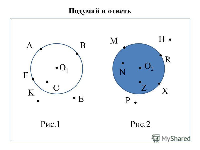 Подумай и ответь. O1O1 AB C K Е O2O2 M H R N Z P F X Рис.1Рис.2