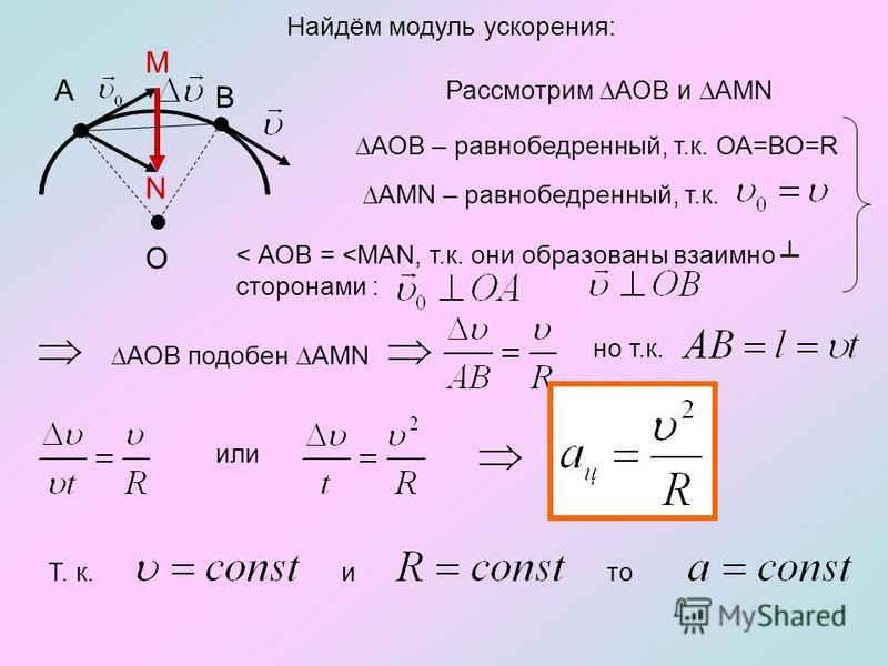 Найдём модуль ускорения: А В M N Рассмотрим АОВ и АMN АОВ – равнобедренный, т.к. ОА=ВО=R AMN – равнобедренный, т.к. < АОВ =