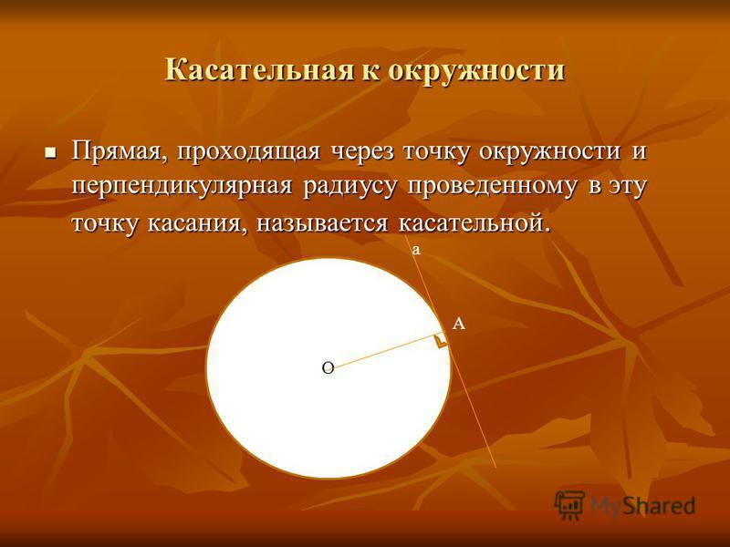 Касательная к окружности Прямая, проходящая через точку окружности и перпендикулярная радиусу проведенному в эту точку касания, называется касательной. Прямая, проходящая через точку окружности и перпендикулярная радиусу проведенному в эту точку каса