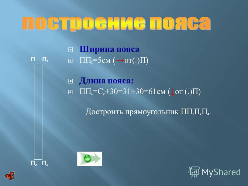 Ширина пояса ПП 1 =5 см ( от (.) П ) Длина пояса : ПП 2 = С т +30=31+30=61 см ( от (.) П ) Достроить прямоугольник ПП 1 П 2 П 3. П П 1 П 2 П 3
