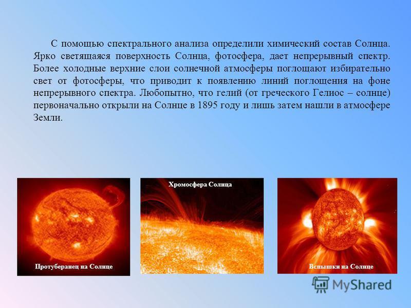 С помощью спектрального анализа определили химический состав Солнца. Ярко светящаяся поверхность Солнца, фотосфера, дает непрерывный спектр. Более холодные верхние слои солнечной атмосферы поглощают избирательно свет от фотосферы, что приводит к появ