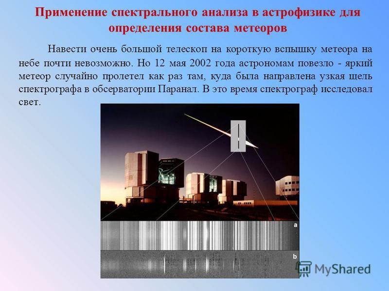 Применение спектрального анализа в астрофизике для определения состава метеоров Навести очень большой телескоп на короткую вспышку метеора на небе почти невозможно. Но 12 мая 2002 года астрономам повезло - яркий метеор случайно пролетел как раз там,