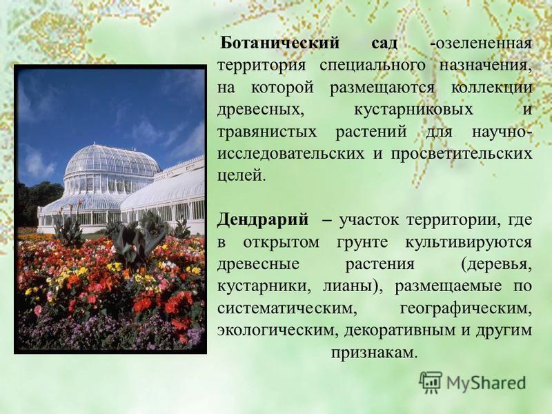 Ботанический сад -озелененная территория специального назначения, на которой размещаются коллекции древесных, кустарниковых и травянистых растений для научно- исследовательских и просветительских целей. Дендрарий – участок территории, где в открытом