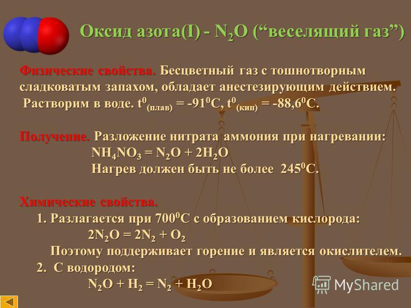 Оксид азота(I) - N 2 O (веселящий газ) Физические свойства. Бесцветный газ с тошнотворным сладковатым запахом, обладает анестезирующим действием. Растворим в воде. t 0 (плав) = -91 0 С, t 0 (кип) = -88,6 0 С. Растворим в воде. t 0 (плав) = -91 0 С, t