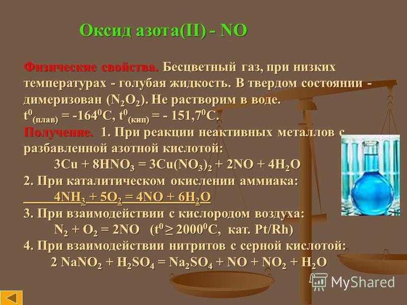 Оксид азота(II) - NO Физические свойства. Бесцветный газ, при низких температурах - голубая жидкость. В твердом состоянии - димеризован (N 2 O 2 ). Не растворим в воде. t 0 (плав) = -164 0 С, t 0 (кип) = - 151,7 0 С. Получение. 1. При реакции неактив