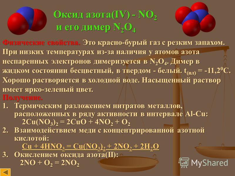 Оксид азота(IV) - NO 2 и его димер N 2 O 4 и его димер N 2 O 4 Физические свойства. Это красно-бурый газ с резким запахом. При низких температурах из-за наличия у атомов азота неспаренных электронов димеризуется в N 2 O 4. Димер в жидком состоянии бе