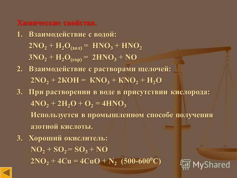 Химические свойства. 1. Взаимодействие с водой: 2NO 2 + H 2 O (хол) = HNO 3 + HNO 2 2NO 2 + H 2 O (хол) = HNO 3 + HNO 2 3NO 2 + H 2 O (гор) = 2HNO 3 + NO 3NO 2 + H 2 O (гор) = 2HNO 3 + NO 2. Взаимодействие с растворами щелочей: 2NO 2 + 2КОН = КNO 3 +