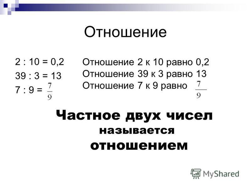 Отношение 2 : 10 = 0,2 39 : 3 = 13 7 : 9 = Отношение 2 к 10 равно 0,2 Отношение 39 к 3 равно 13 Отношение 7 к 9 равно Частное двух чисел называется отношением
