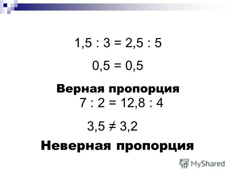 1,5 : 3 = 2,5 : 5 0,5 = 0,5 Верная пропорция 7 : 2 = 12,8 : 4 3,5 3,2 Неверная пропорция