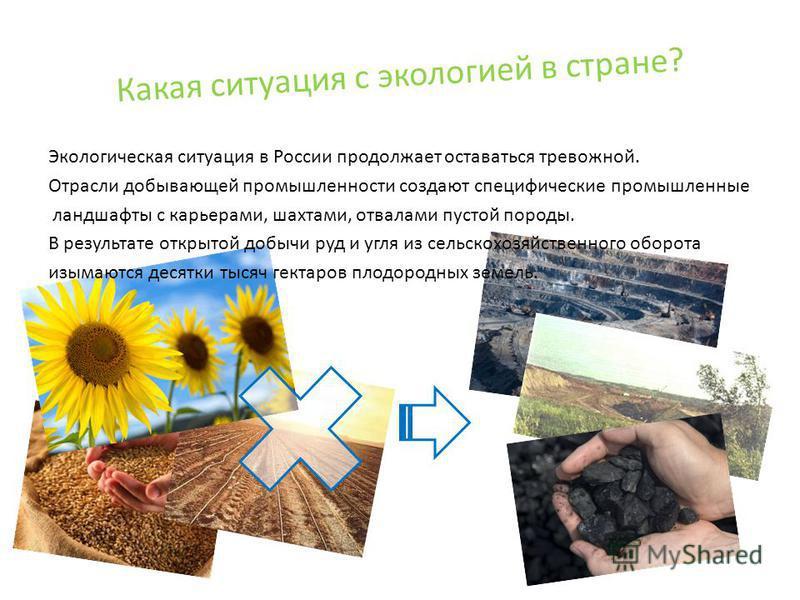 Какая ситуация с экологией в стране? Экологическая ситуация в России продолжает оставаться тревожной. Отрасли добывающей промышленности создают специфические промышленные ландшафты с карьерами, шахтами, отвалами пустой породы. В результате открытой д
