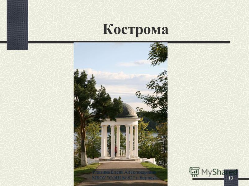 Кострома 13 Глазина Елена Александровна МБОУ СОШ 62 г. Барнаул