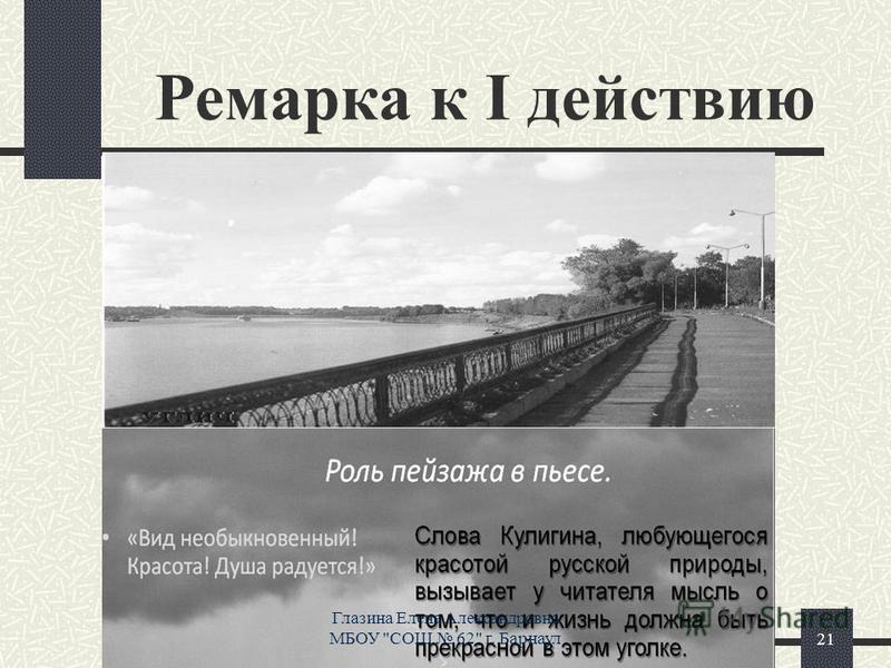 Ремарка к І действию 21 Глазина Елена Александровна МБОУ СОШ 62 г. Барнаул