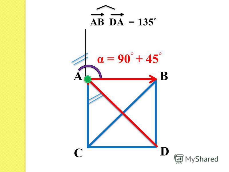 AB C D AB DA =135˚ α = 90 + 45