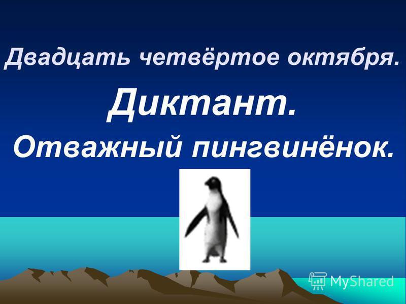 Двадцать четвёртое октября. Диктант. Отважный пингвинёнок.