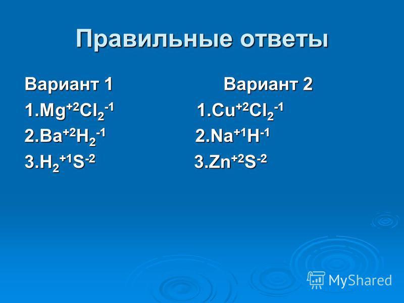 Правильные ответы Вариант 1 Вариант 2 1. Mg +2 Cl 2 -1 1. Cu +2 Cl 2 -1 2. Ba +2 H 2 -1 2. Na +1 H -1 3. H 2 +1 S -2 3. Zn +2 S -2
