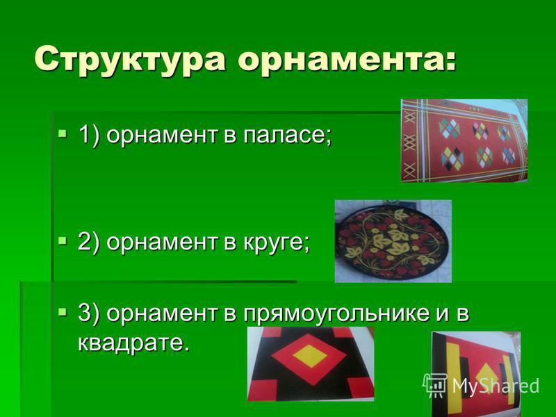 Структура орнамента: 1) орнамент в паласе; 1) орнамент в паласе; 2) орнамент в круге; 2) орнамент в круге; 3) орнамент в прямоугольнике и в квадрате. 3) орнамент в прямоугольнике и в квадрате.