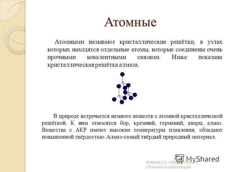 Атомные Атомными называют кристаллические решётки, в узлах которых находятся отдельные атомы, которые соединены очень прочными ковалентными связями. Ниже показана кристаллическая решётка алмаза. В природе встречается немного веществ с атомной кристал