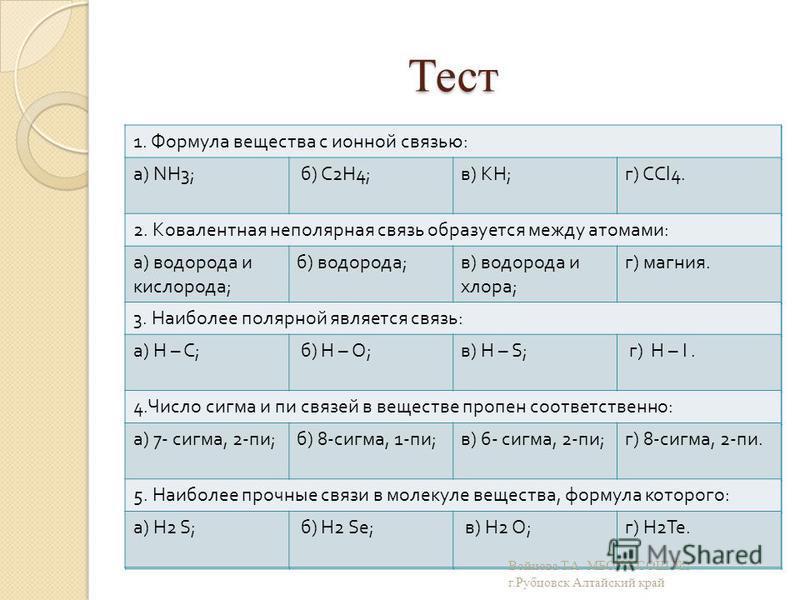 Тест 1. Формула вещества с ионной связью : а ) NH3; б ) С 2 Н 4; в ) KH; г ) СС l4. 2. Ковалентная неполярная связь образуется между атомами : а ) водорода и кислорода ; б ) водорода и фосфора ; в ) водорода и хлора ; г ) магния. 3. Наиболее полярной
