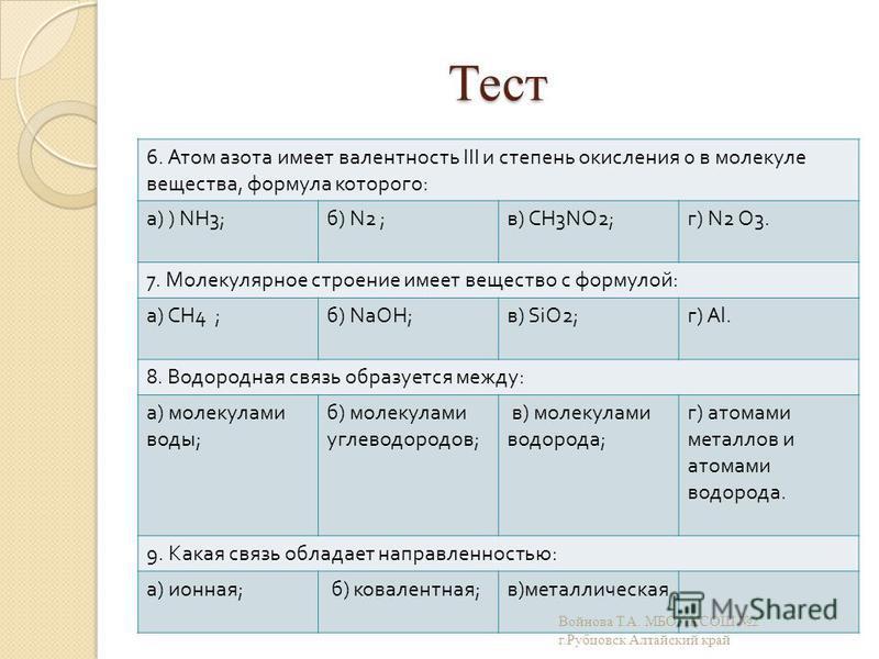 Тест 6. Атом азота имеет валентность III и степень окисления 0 в молекуле вещества, формула которого : а ) ) NH3; б ) N2 ; в ) CH3NO2; г ) N2 O3. 7. Молекулярное строение имеет вещество с формулой : а ) СН 4 ; б ) N аО H; в ) SiO2; г ) Al. 8. Водород