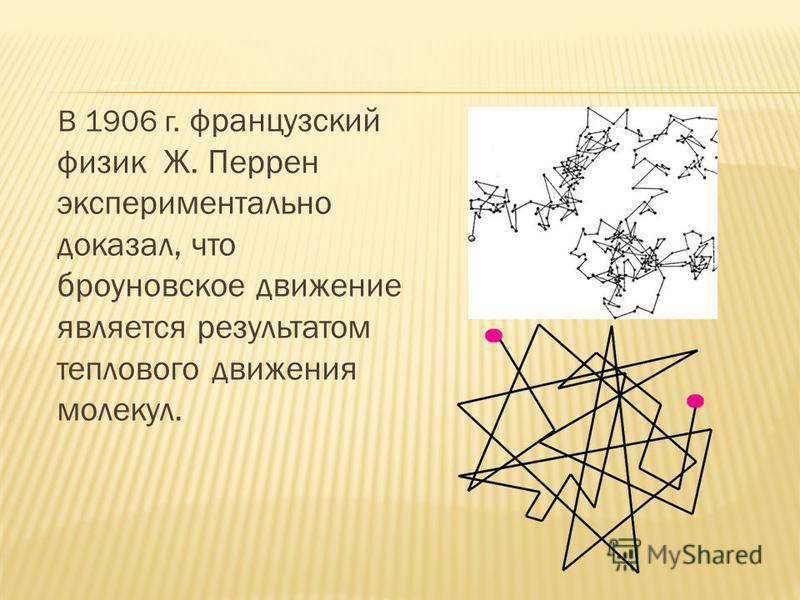 В 1906 г. французский физик Ж. Перрен экспериментально доказал, что броуновское движение является результатом теплового движения молекул.