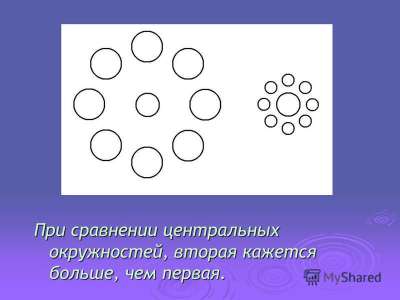 При сравнении центральных окружностей, вторая кажется больше, чем первая.