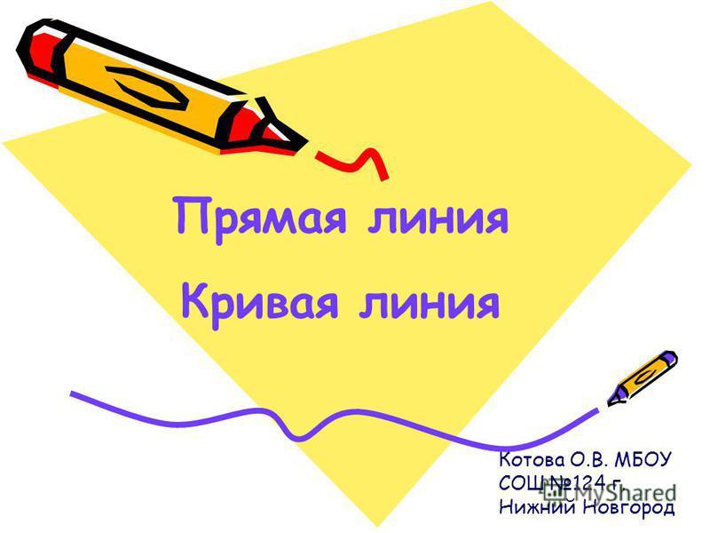 Котова О.В. МБОУ СОШ 124 г. Нижний Новгород Прямая линия Кривая линия